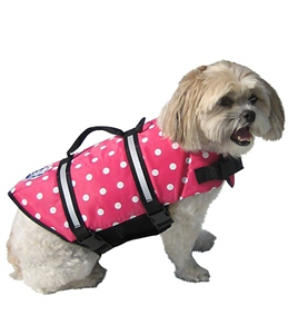 Paws Aboard Pink Polka Dot Doggy Life Jacket M-L