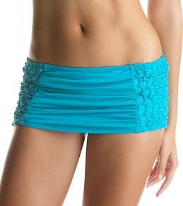 Laundry By Shelli Segal Smocked Solid Swim Skirt