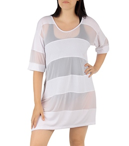 J.Valdi Plus Size Jersey Top with Power Mesh Insets