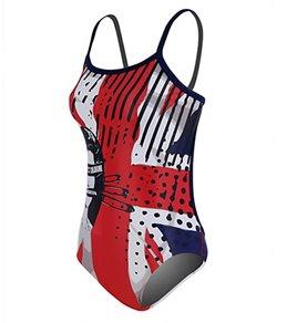 Hardcore Swim Women's God Save Chlorine Cali Back One Piece Swimsuit