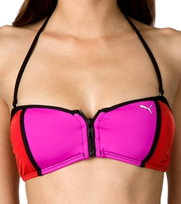 Puma Swim Hyper Active Color Block Zipper Bandeau Top