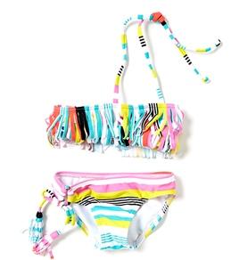 Roxy Kids' Shades Of Summer Fringe Bandeau Bikini Set (2T-6X)