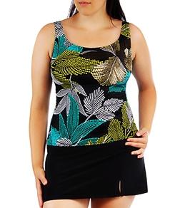 Penbrooke Mastectomy Dot Palm Skirtkini with Black Slit Skirt