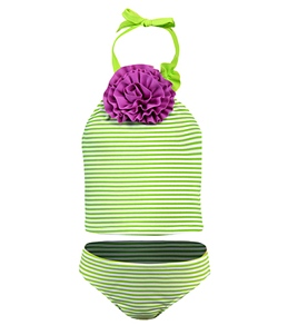 Love U Lots Ruffle Flower Lime Stripe Tankini Set (12mos-24mos)