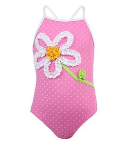 Love U Lots Pink Dot Ruffle Daisy One Piece (12 mos-4T)