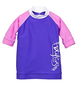 Platypus Girls' Periwinkle Solid  S/S Rash Guard (2-8yrs)