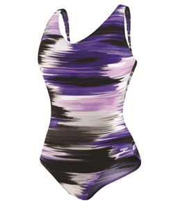 Speedo Brushed Stripe Comfort Strap One Piece