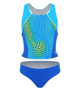 Speedo Girls' Checks-On-The-Go 2pc Side Splice