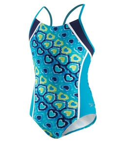 Speedo Girls' Love Burst 1pc Butterfly Back Side Splice