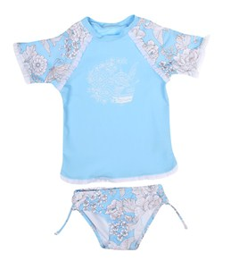 Seafolly Girls' Powder Room S/S Rash Guard Set (6mos-7yrs)