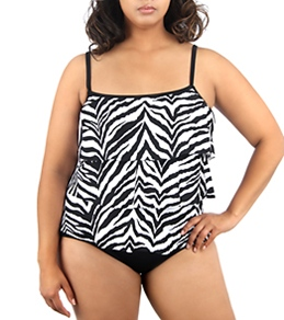 Maxine Plus Size Bold Beauty Tiered Tankini Top