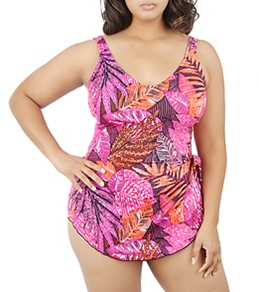Maxine Plus Size Exotic Journey Wide Strap Sarong One Piece