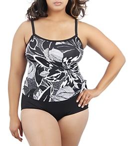 Maxine Plus Size Tropic Breeze Scoop Faux Tankini One Piece