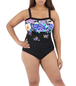 Maxine Plus Size Tropical Bliss Shirred Side Bandeau One Piece