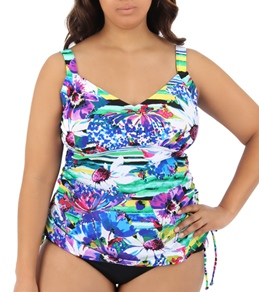 Maxine Plus Size Bianca Side Shirred Underwire Tankini Top