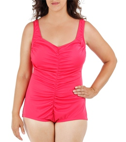 Maxine Plus Size Solid Shirred Front Girl Leg One Piece