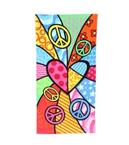 "Kaufman Sales Peace Heart Towel 30"" x 60"""