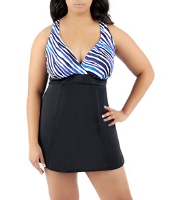 Jantzen Dazzling Zebra Plus Size Swimdress