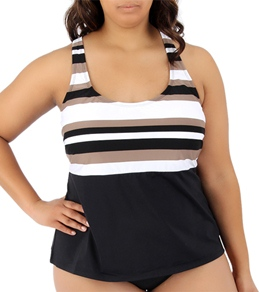 Beach House Plus Size Coastline Stripe Crossback Tankini Top