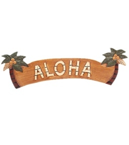"""Wet Products """"Aloha"""" Palm Tree Signs 22"""" x 7"""""""