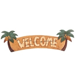 "Wet Products ""Welcome"" Palm Tree Signs 22"" x 7"""