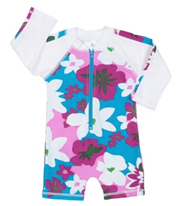 Snapper Rock Baby Girls' Tropical Flowers L/S Sunsuit (0-2yrs)