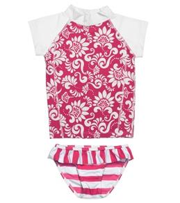 Snapper Rock Girls' Red/White Flowers Ruffle Bikini Rashguard Set (4-12yrs)