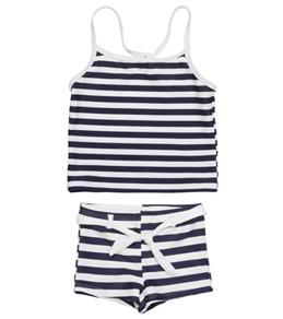 Snapper Rock Girls' Navy/White Stripe Tankini Set (4-12yrs)