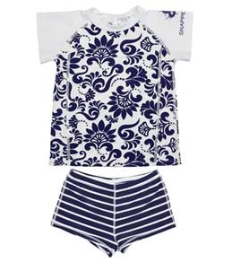 Snapper Rock Girls' Navy Brocade S/S Rashguard Swim Set (4-12yrs)