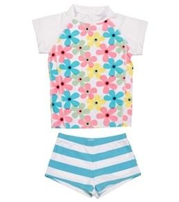 Snapper Rock Girls' Pastel Flowers S/S Rashguard Swim Set (4-12yrs)