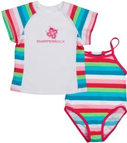 Snapper Rock Girls' Multi Stripe S/S Rashguard Swim Set (4-12yrs)