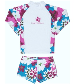 Snapper Rock Girls' White/Purple Flowers L/S Rashguard Swim Set (4-12yrs)