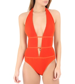 Laundry By Shelli Segal Pleated Solids Plunge Maillot 1PC