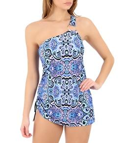 Jantzen Moroccan Maze Asymmetric Swim Dress