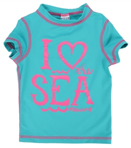 """Billabong Billie Girls' Lola """"I Heart the Sea"""" S/S Rashguard (4-12)"""