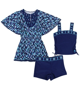 Cabana Life Girls' Ikat Blues Swim & Jersey Cover Up Set (4-6X)