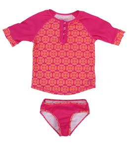 Cabana Life Girls' Bali Rose Rashguard Set (2T-6X)