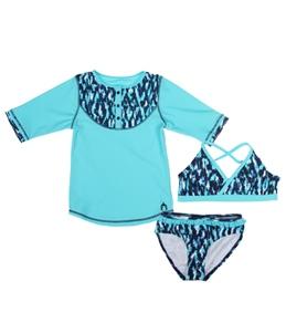 Cabana Life Girls' Ikat Blues Swim & Rashguard Set (7-14)