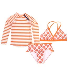 Cabana Life Girls' Orange Crush Swim & Rashguard Set (7-14)