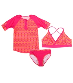 Cabana Life Girls' Bali Rose Swim & Rashguard Set (7-14)