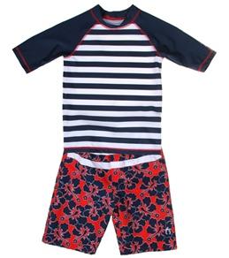 Cabana Life Boys' Hibiscus Stripe Rashguard Set (2T-7)
