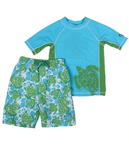 Cabana Life Boys' Ocean Watch See Turtle Rashguard Set (2T-7)