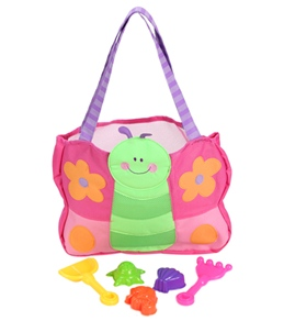 Stephen Joseph Kids' Butterfly Beach Tote (Includes Sand Toy Set)