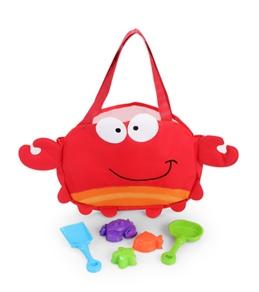 Stephen Joseph Kids' Crab Beach Tote (Includes Sand Toy Set)