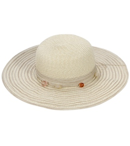 Sun N Sand Kai Beaded Trim Straw Hat
