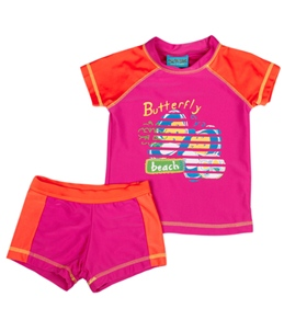 Jump N Splash Girls' Butterfly S/S Rashguard Set w/FREE Goggles (4-12)