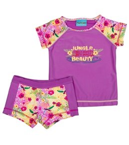 Jump N Splash Girls' Jungle Beauty S/S Rashguard Set w/FREE Goggles (4-12)
