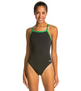 Waterpro Piped Polyester Thin Strap Swimsuit