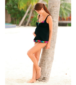 Sunflair Maternity Rainbow Stripes Tankini Top Set
