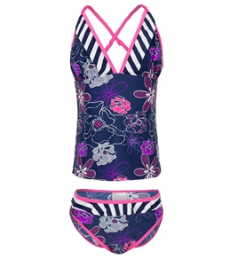 Platypus Girls' Spotted Flower Tankini Set (10-14)